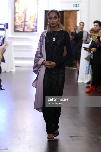 LONDON, ENGLAND - FEBRUARY 14:   A model walks the runway wearing designs by the various designers at A Celebration of Canadian Design and After Party during London Fashion Week February 2019 at Canada House on February 14, 2019 in London, England. (Photo by Tim Whitby/BFC/Getty Images)